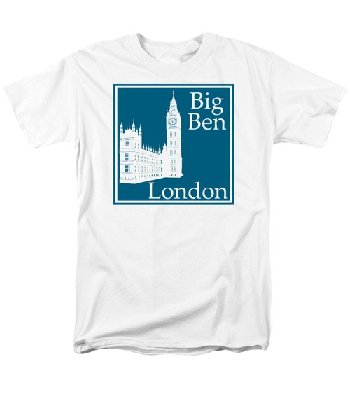 London's Big Ben In Blue Lagoon Men's T-Shirt  (Regular Fit) by Custom Home Fashions