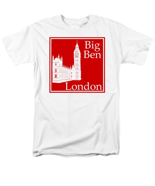 London's Big Ben In Red Men's T-Shirt  (Regular Fit) by Custom Home Fashions