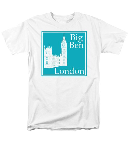 London's Big Ben In Robin's Egg Blue Men's T-Shirt  (Regular Fit) by Custom Home Fashions