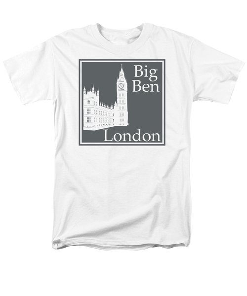 London's Big Ben In Storm Gray Men's T-Shirt  (Regular Fit) by Custom Home Fashions