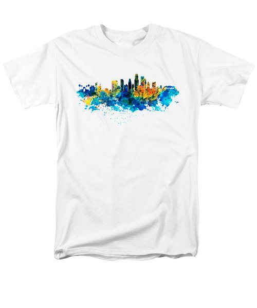 Los Angeles Skyline Men's T-Shirt  (Regular Fit) by Marian Voicu