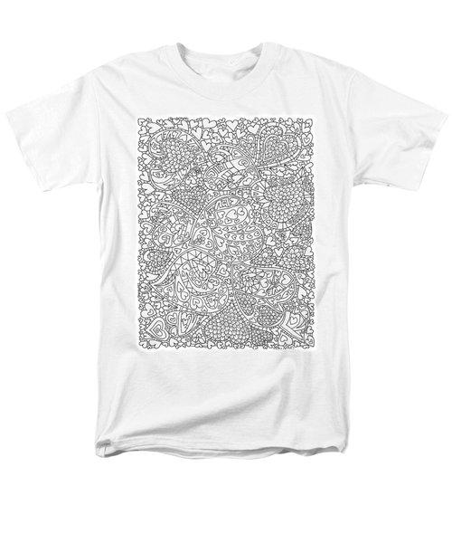 Love And Chrysanthemum Filled Hearts Vertical Men's T-Shirt  (Regular Fit) by Tamara Kulish
