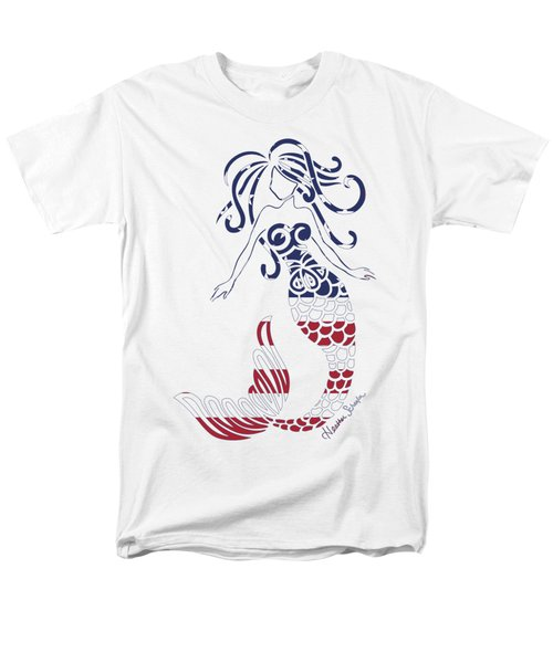 Made In The Usa Tribal Mermaid Men's T-Shirt  (Regular Fit) by Heather Schaefer