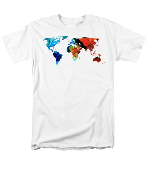 Map of The World 3 -Colorful Abstract Art T-Shirt by Sharon Cummings