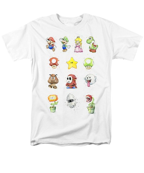 Mario Characters In Watercolor Men's T-Shirt  (Regular Fit) by Olga Shvartsur