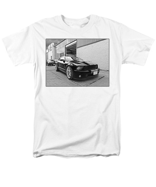 Mustang Alley In Black And White Men's T-Shirt  (Regular Fit) by Gill Billington