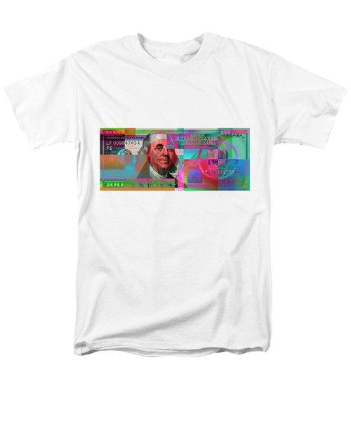 New 2009 Series Pop Art Colorized Us One Hundred Dollar Bill  V.3.2 Men's T-Shirt  (Regular Fit) by Serge Averbukh