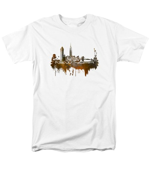 New York City Skyline Brown Men's T-Shirt  (Regular Fit) by Justyna JBJart