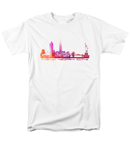 New York City Skyline Purple Men's T-Shirt  (Regular Fit) by Justyna JBJart