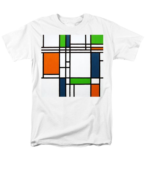 Parallel Lines Composition with Blue Green and Orange in Opposition T-Shirt by Oliver Johnston