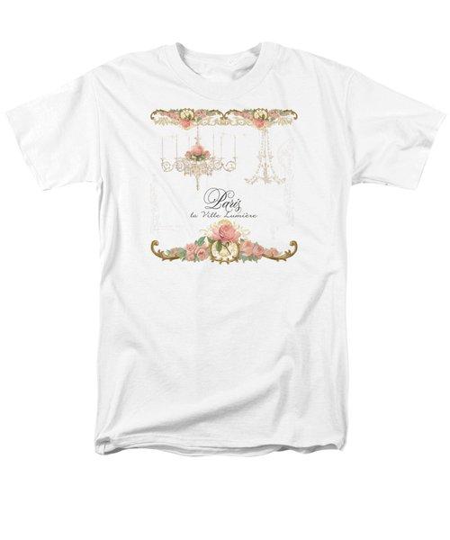 Parchment Paris - City Of Light Rose Chandelier W Plaster Walls Men's T-Shirt  (Regular Fit) by Audrey Jeanne Roberts