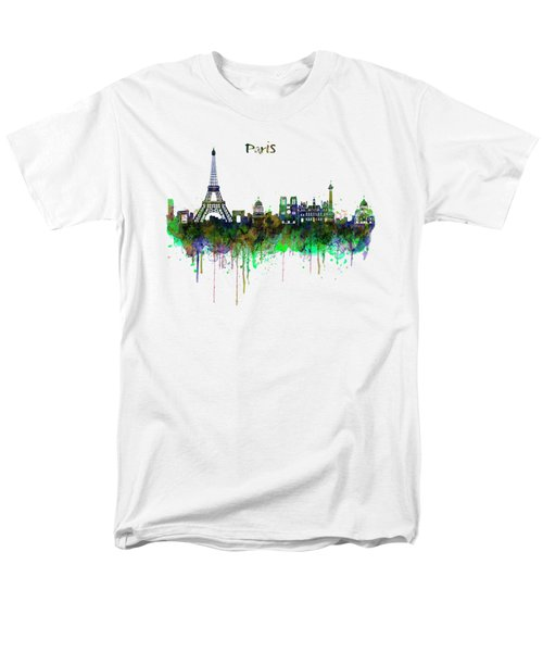 Paris Skyline Watercolor Men's T-Shirt  (Regular Fit) by Marian Voicu