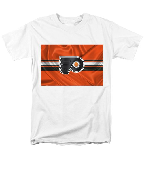 Philadelphia Flyers - 3 D Badge Over Silk Flag Men's T-Shirt  (Regular Fit) by Serge Averbukh