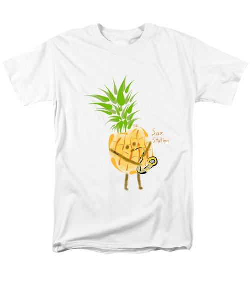 Pineapple Playing Saxophone Men's T-Shirt  (Regular Fit) by Neal Battaglia