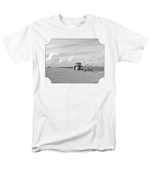 Ploughing After The Harvest In Black And White Men's T-Shirt  (Regular Fit) by Gill Billington