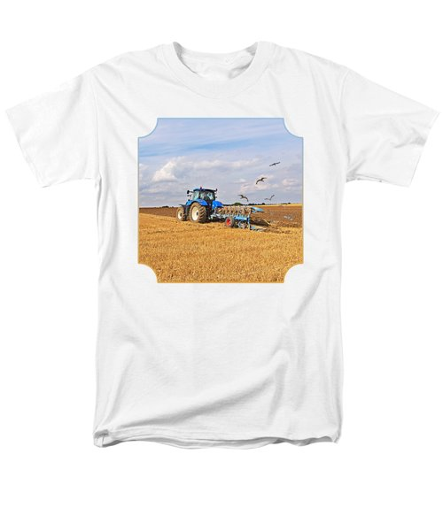 Ploughing After The Harvest - Square Men's T-Shirt  (Regular Fit) by Gill Billington
