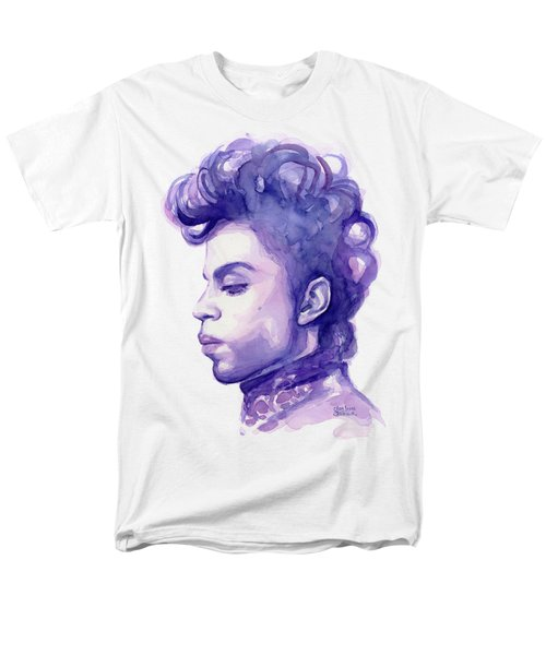 Prince Musician Watercolor Portrait Men's T-Shirt  (Regular Fit) by Olga Shvartsur