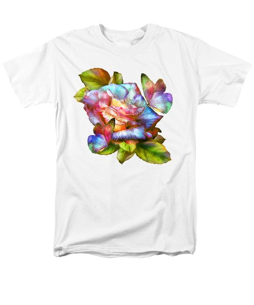 Rainbow Rose And Butterflies Men's T-Shirt  (Regular Fit) by Carol Cavalaris
