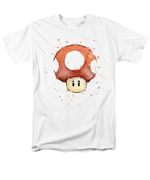Red Mushroom Watercolor Men's T-Shirt  (Regular Fit) by Olga Shvartsur