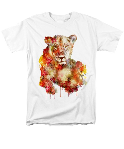 Resting Lioness In Watercolor Men's T-Shirt  (Regular Fit) by Marian Voicu