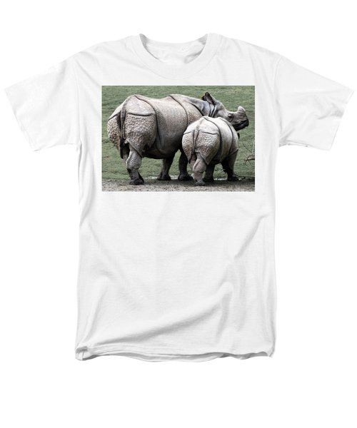 Rhinoceros Mother And Calf In Wild Men's T-Shirt  (Regular Fit) by Daniel Hagerman