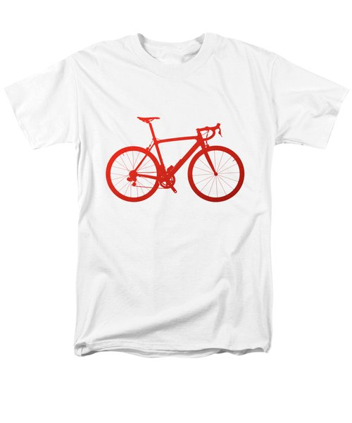 Road Bike Silhouette - Red On White Canvas Men's T-Shirt  (Regular Fit) by Serge Averbukh