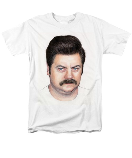 Ron Swanson Portrait Nick Offerman Men's T-Shirt  (Regular Fit) by Olga Shvartsur