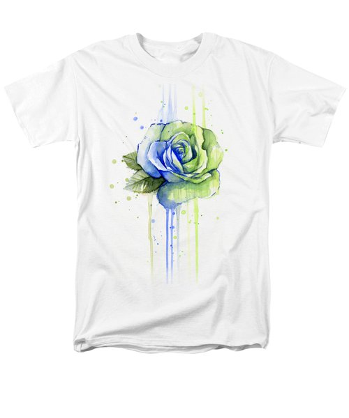 Seattle 12th Man Seahawks Watercolor Rose Men's T-Shirt  (Regular Fit) by Olga Shvartsur