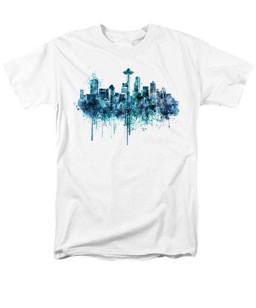 Seattle Skyline Monochrome Watercolor Men's T-Shirt  (Regular Fit) by Marian Voicu