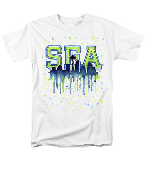 Seattle Watercolor 12th Man Art Painting Space Needle Go Seahawks Men's T-Shirt  (Regular Fit) by Olga Shvartsur