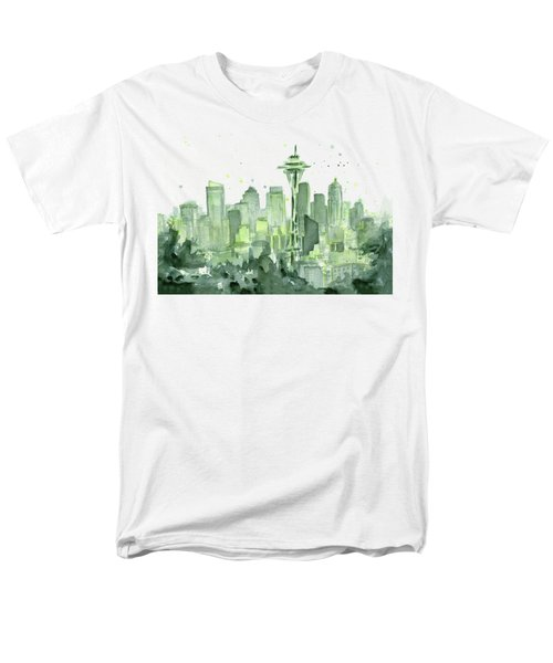 Seattle Watercolor Men's T-Shirt  (Regular Fit) by Olga Shvartsur