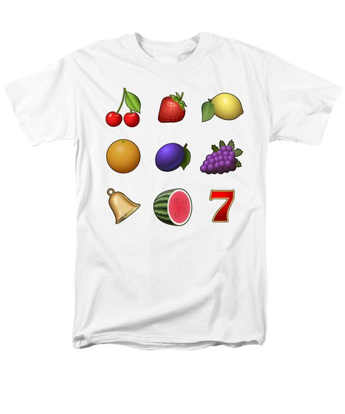 Slot Machine Fruit Symbols Men's T-Shirt  (Regular Fit) by Miroslav Nemecek