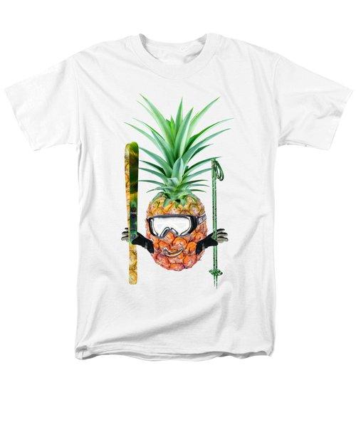 Smiling Pineapple-downhill Skier Men's T-Shirt  (Regular Fit) by Elena Nikolaeva