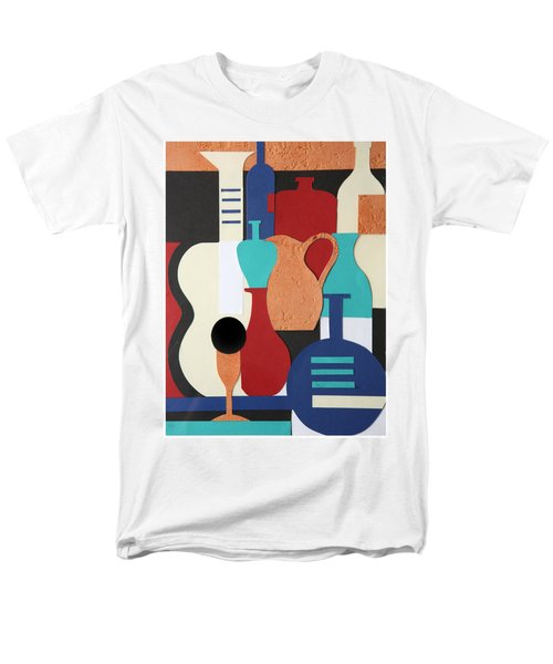 Still life paper collage of wine glasses bottles and musical instruments T-Shirt by Mal Bray