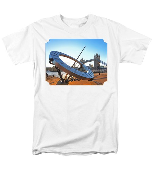 Sun Dial And Tower Bridge London Men's T-Shirt  (Regular Fit) by Gill Billington