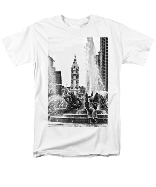 Swann Memorial Fountain in Black and White T-Shirt by Bill Cannon