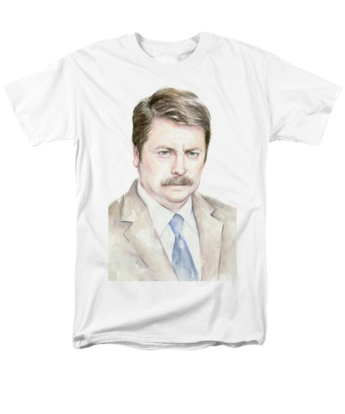 Ron Swanson Watercolor Portrait Men's T-Shirt  (Regular Fit) by Olga Shvartsur