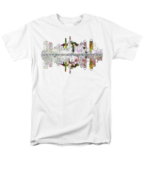 Tokyo Skyline On White Men's T-Shirt  (Regular Fit) by John Groves