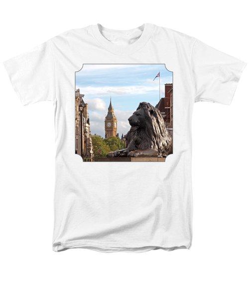 Trafalgar Square Lion With Big Ben Men's T-Shirt  (Regular Fit) by Gill Billington