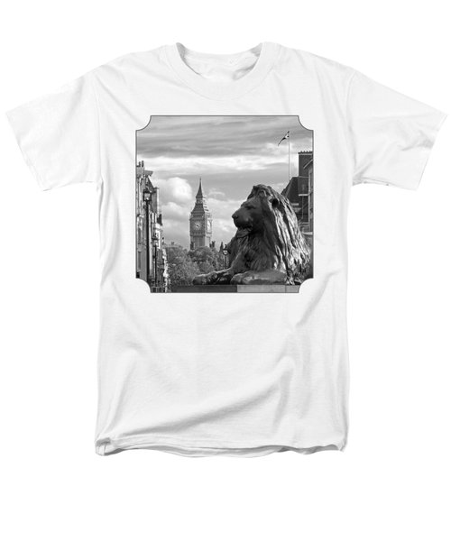 Trafalgar Square Lion With Big Ben In Black And White Men's T-Shirt  (Regular Fit) by Gill Billington