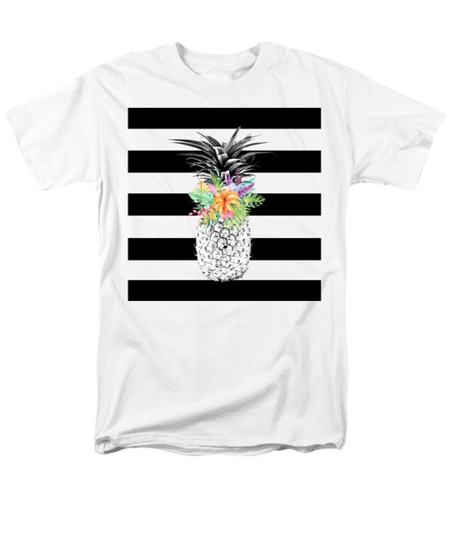 Tropical Flower Pineapple Black And White Stripes Men's T-Shirt  (Regular Fit) by Dushi Designs