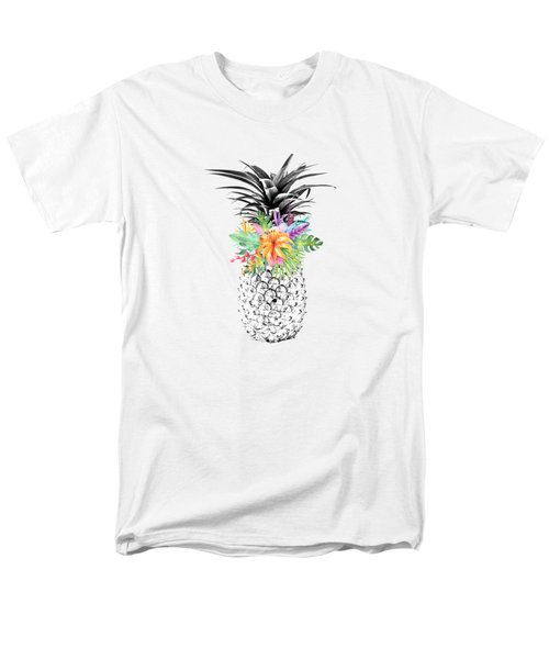Tropical Pineapple Flowers Aqua Men's T-Shirt  (Regular Fit) by Dushi Designs