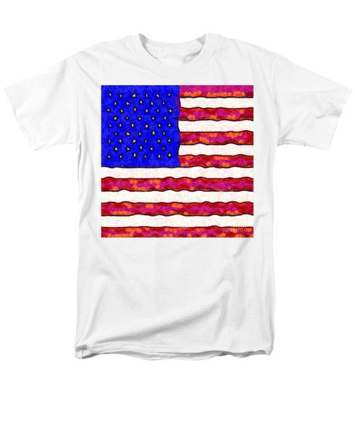 Van Gogh.s Starry American Flag . Square T-Shirt by Wingsdomain Art and Photography