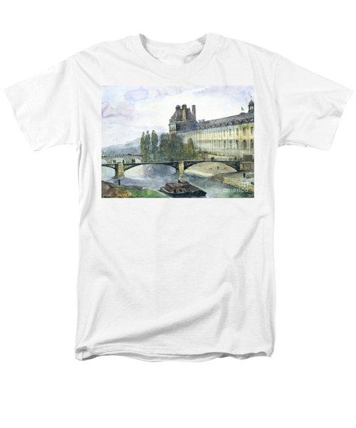 View Of The Pavillon De Flore Of The Louvre Men's T-Shirt  (Regular Fit) by Francois-Marius Granet