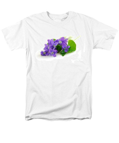 Violets on white background T-Shirt by Elena Elisseeva