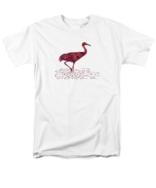 Colorful Sandhill Crane Silhouette Men's T-Shirt  (Regular Fit) by Shara Lee