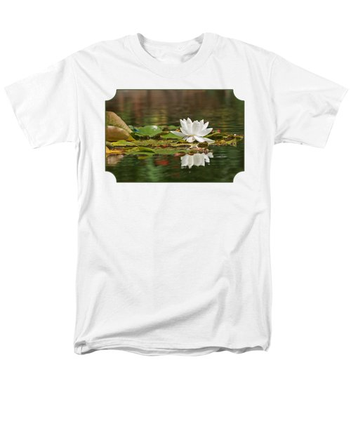 White Water Lily With Damselflies Men's T-Shirt  (Regular Fit) by Gill Billington