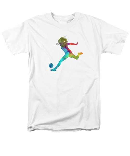 Woman Soccer Player 01 In Watercolor Men's T-Shirt  (Regular Fit) by Pablo Romero