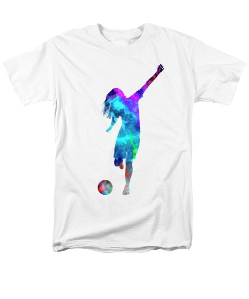 Woman Soccer Player 05 In Watercolor Men's T-Shirt  (Regular Fit) by Pablo Romero