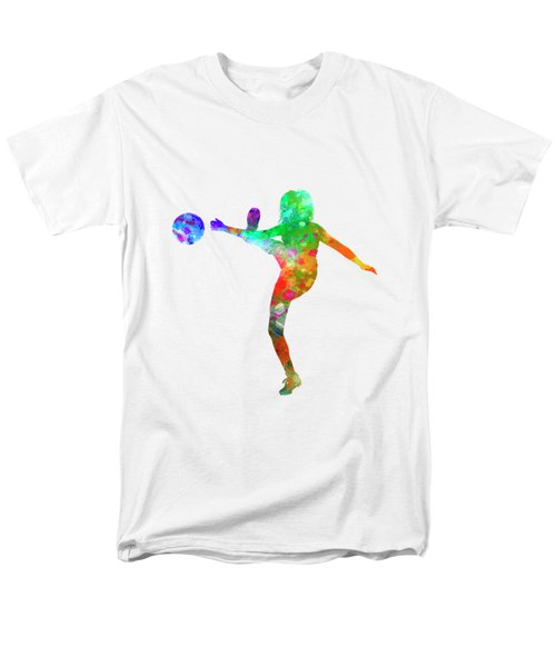 Woman Soccer Player 17 In Watercolor Men's T-Shirt  (Regular Fit) by Pablo Romero